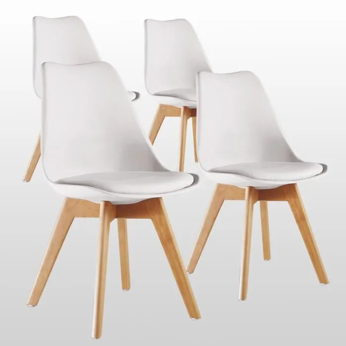 lot de 4 chaises lorenzo style scandinave blanches