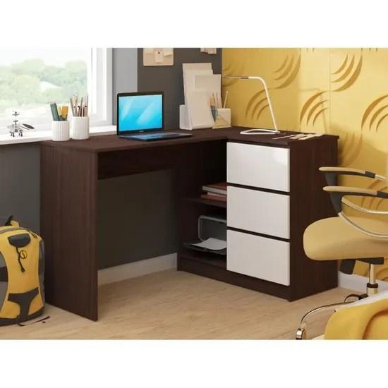 sundar bureau informatique d angle moderne 124x85x77 3 tiroirs 2 grandes niches table ordinateur