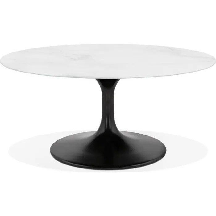 table basse de salon ronde gost mini en verre blanc effet marbre et pied central noir
