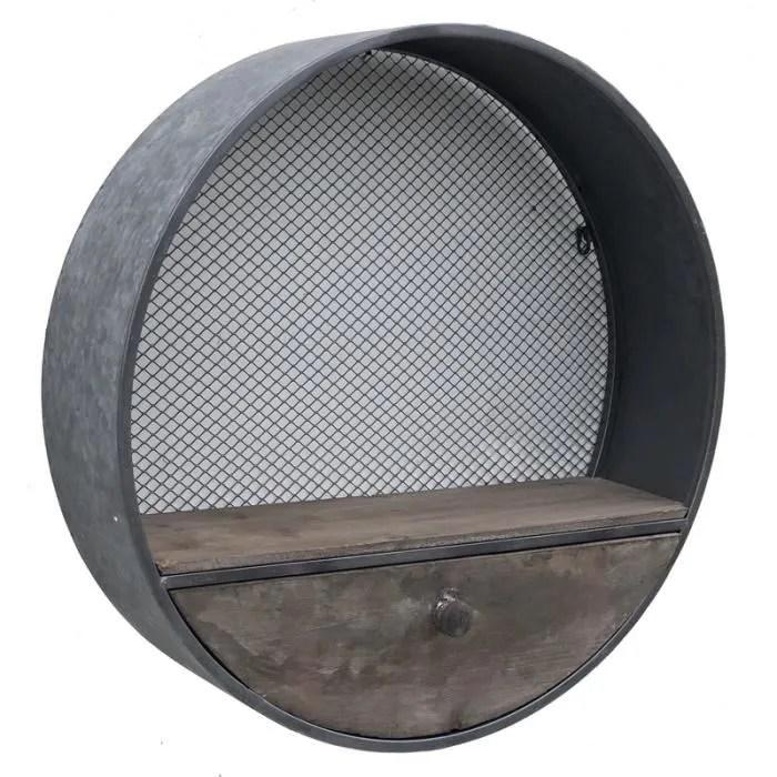 etagere murale ronde industrielle tiroir bois zinc o59 cm 14446 etagere