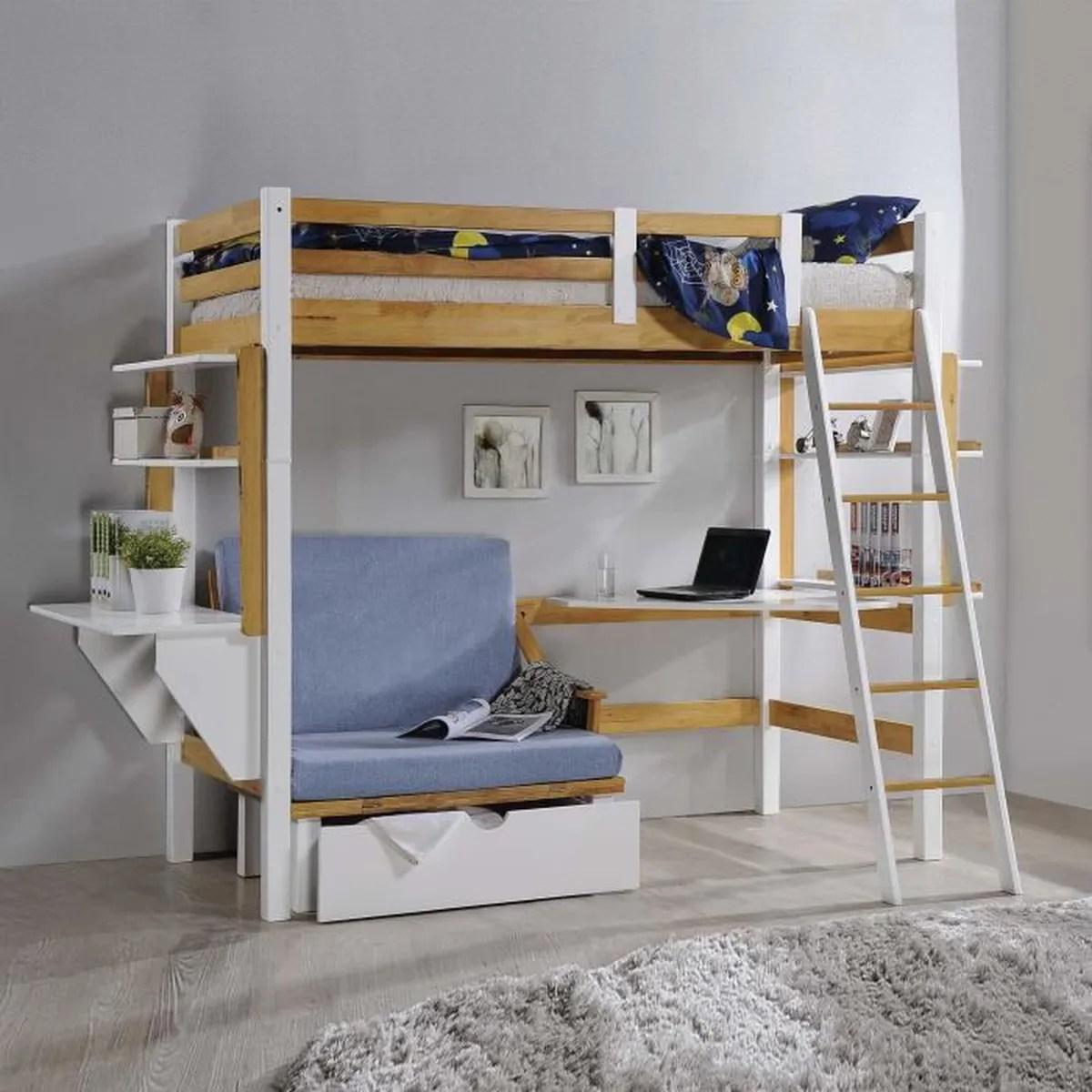 lit mezzanine enfant fille avec rangement et bureau