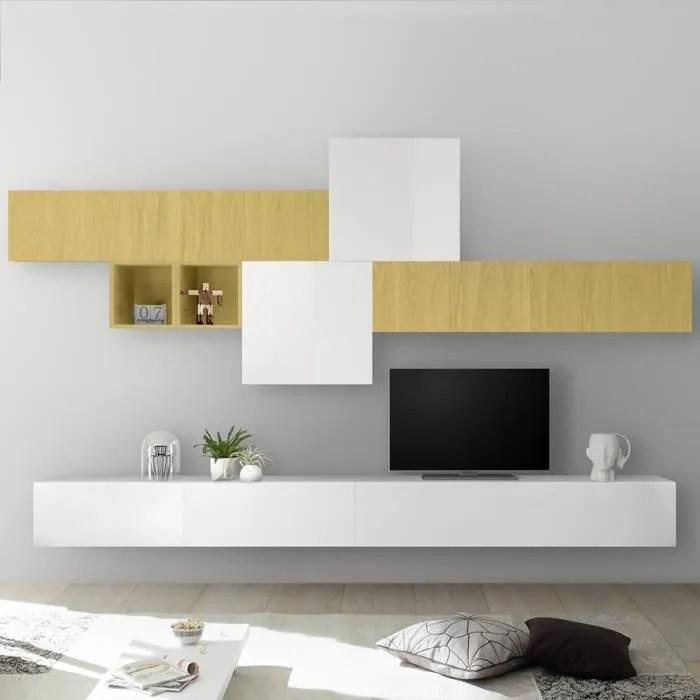 meuble tv suspendu blanc laque et jaune pulsano ja