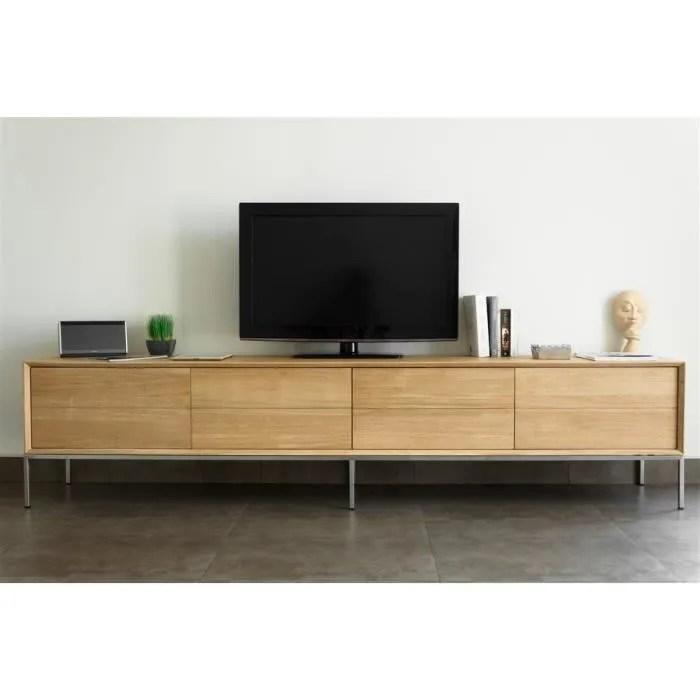 meuble tv 2t 2p swithome epure chene massif