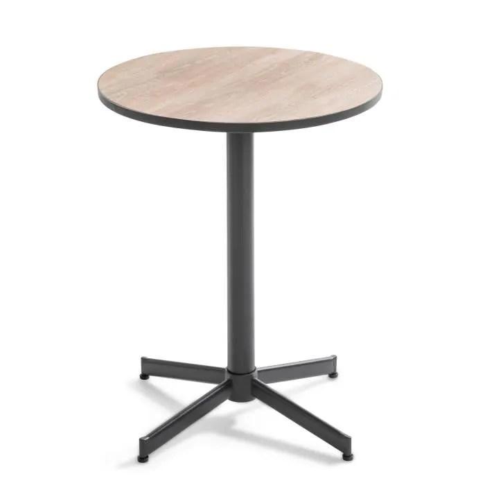 table bistrot ronde plateau ceramique effet bois tivoli naturel