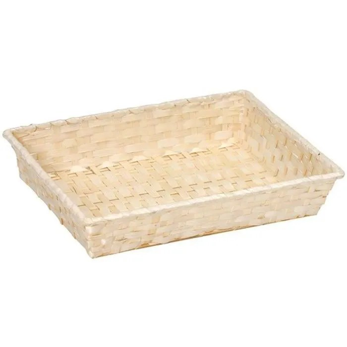vinolem corbeille rectangle en bambou tresse bei