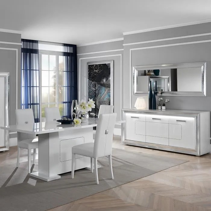 salle a manger blanche laquee design nevahe blanc
