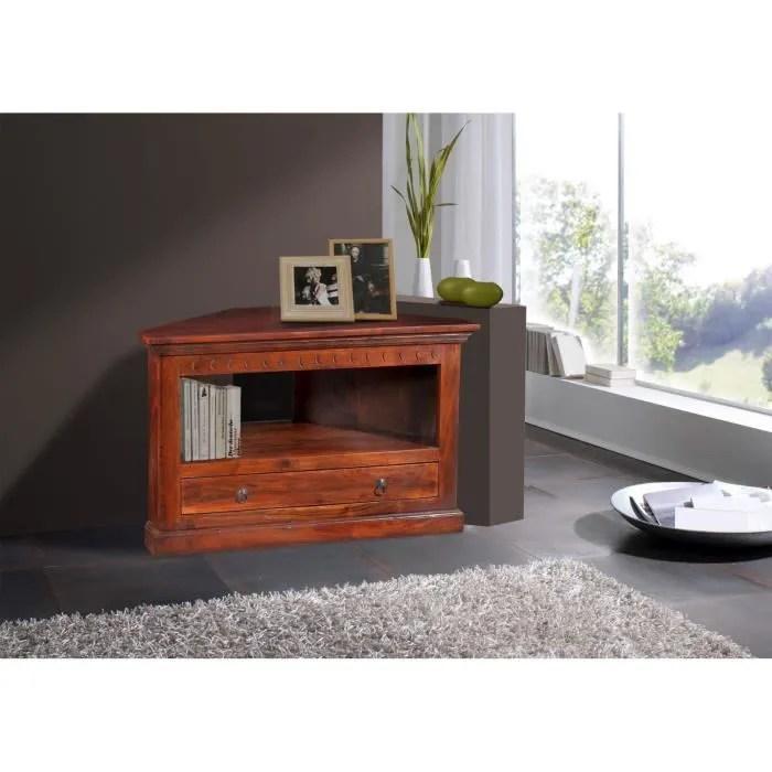 meuble tv d angle bois massif d acacia laque no