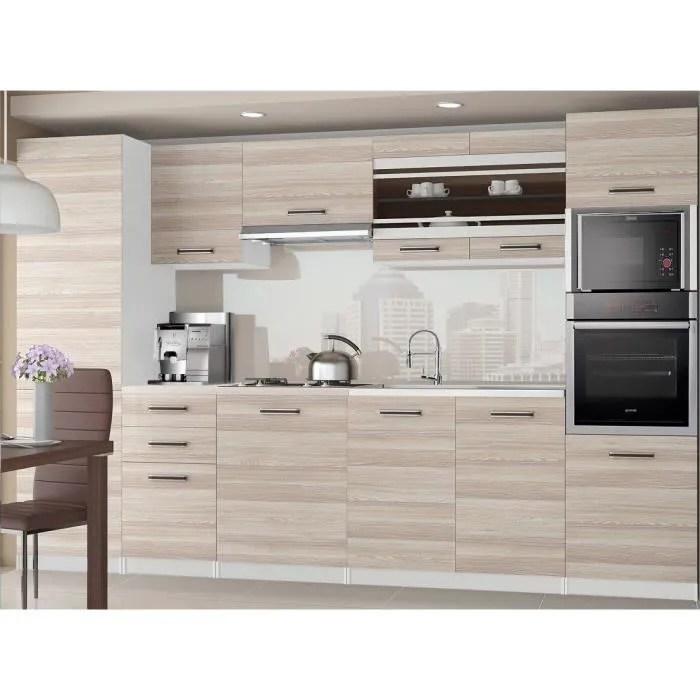 knox cuisine complete modulaire lineaire l 300cm 8 pcs plan de travail inclus meubles cuisine aspect bois wenge