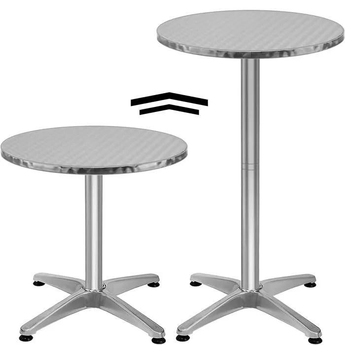 table de bar table haute bistrot aluminium reglable en hauteur