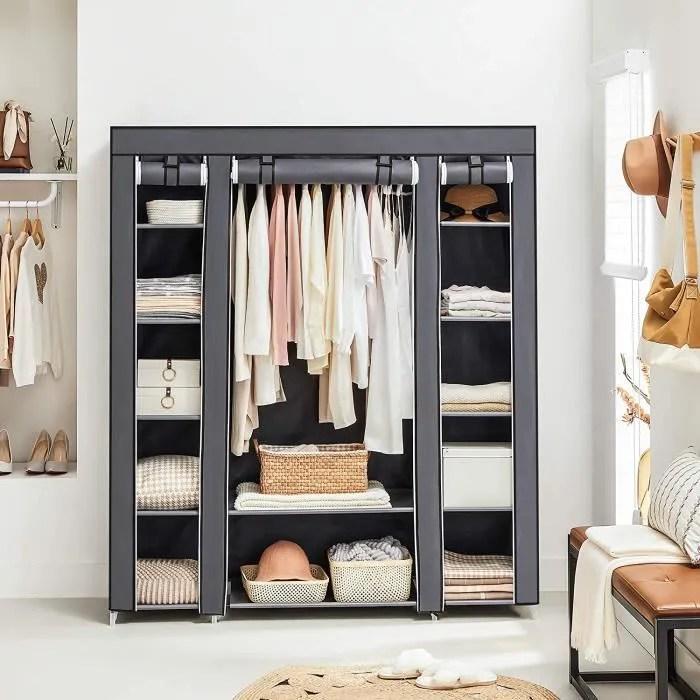 songmics armoire de rangement xxl penderie dressing en tissu non tisse 150 x 45 x 175 cm gris lsf03g