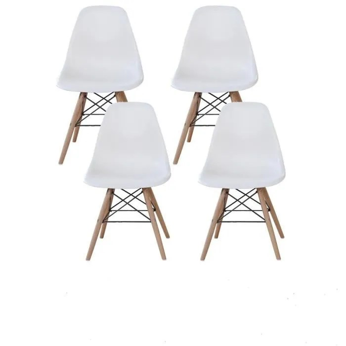 lot de 4 moda moderne chaise de salon blanc scandinave design retro elegant chaise de bureau
