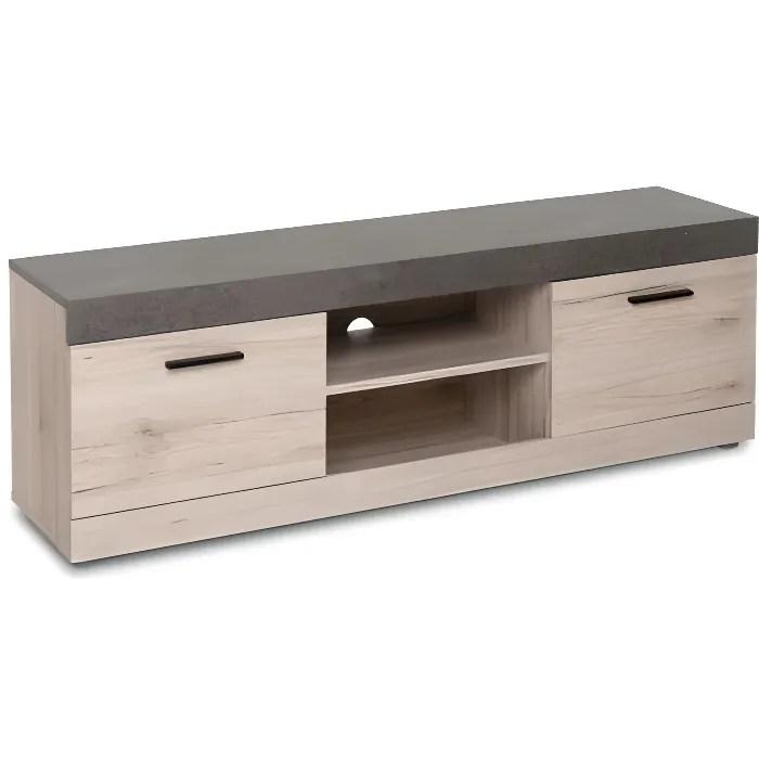 malta meuble tv 2 portes effet beton l 138 cm