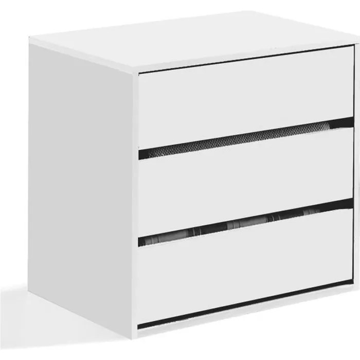 commode a trois tiroirs min 60 cm de profondeur couleur blanche 60 x 57 x 44 cm