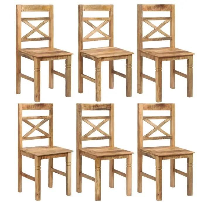 vague 6 pcs chaises de salle a manger bois de manguier solide