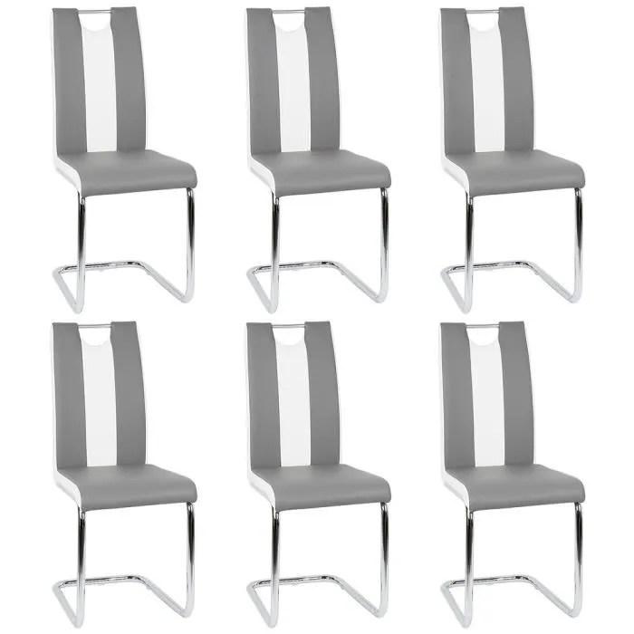 lot de 6 chaises salon gris et blanc chaise pour salle a manger dossier incurve