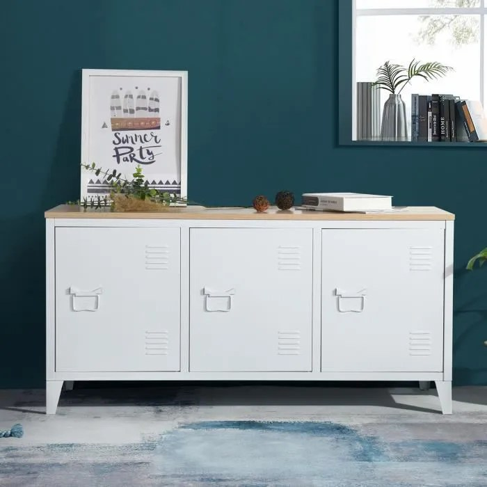 furnish1 enfilade metal avec plateau en bois armoi