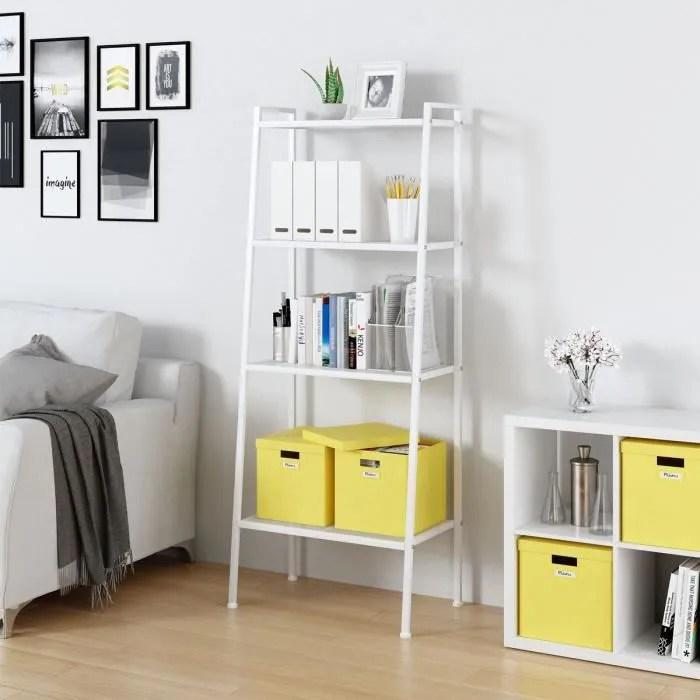 tempsa meuble etagere echelle de rangement a 4 niveau bibliotheque 147 x 60 x 35 5cm blanc