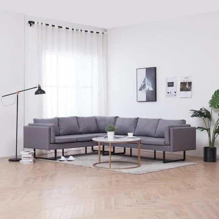 canape d angle 5 6 places en tissu canape contemporain gris clair 251 198 77 cm