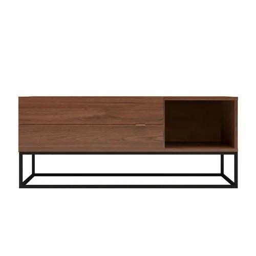 meuble tv urban 120cm 2 tiroirs noyer