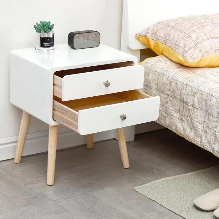 mixmest table de chevet avec 2 tiroirs style scandinave table de nuit blanc