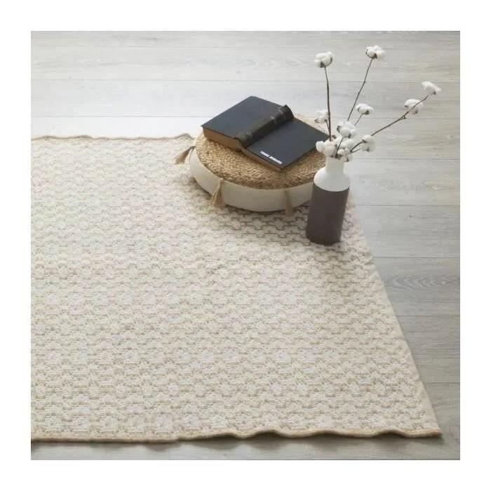 tapis en jute et coton blanc 120 x 170 cm