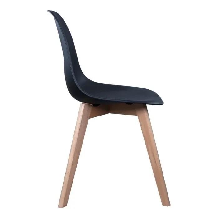 chaise scandinave coque polypropylene noir