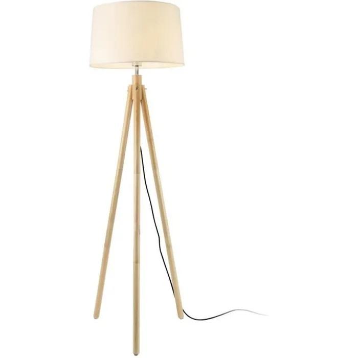 lux pro lampadaire lampe a pied avec abat jour bois metal tissu effet bois et blanc 153 cm