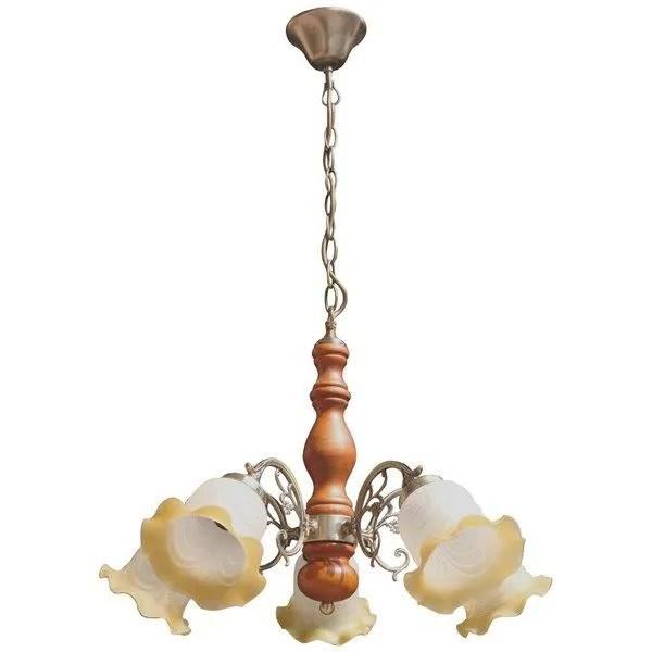 suspension lustre plafond 5 lumieres tulipes bois et verre