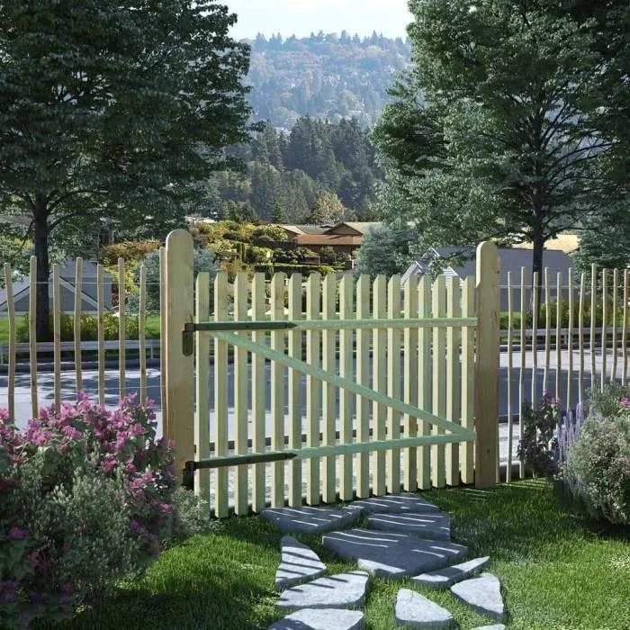 homgeek portail de jardin en bois de pin panneau d