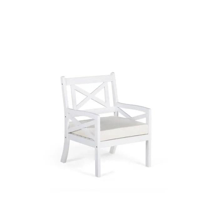 beliani fauteuil de jardin en bois blanc avec co