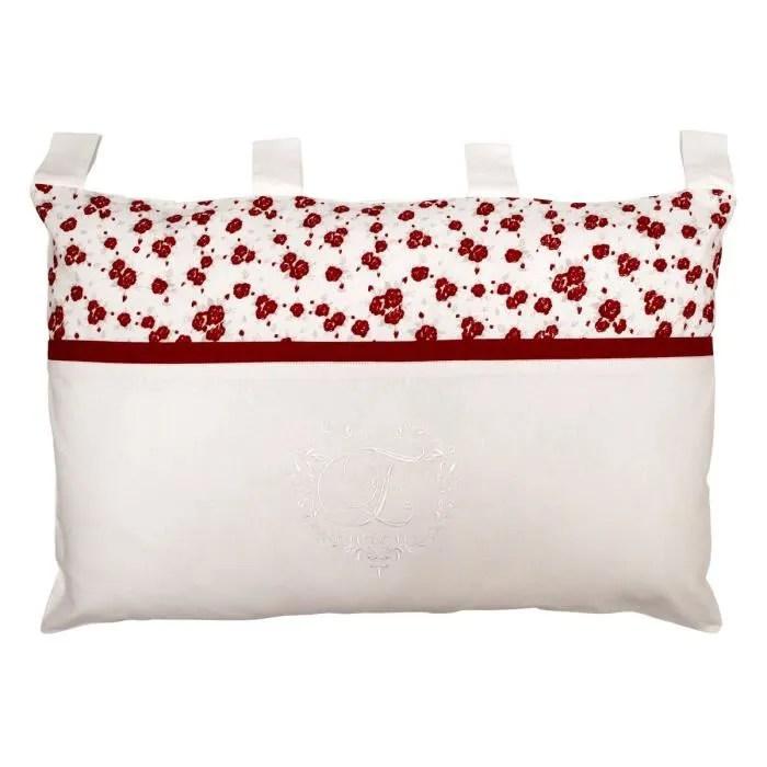 soleil d ocre coussin tete de lit brode eloise 100 coton 45x70 cm blanc et rouge