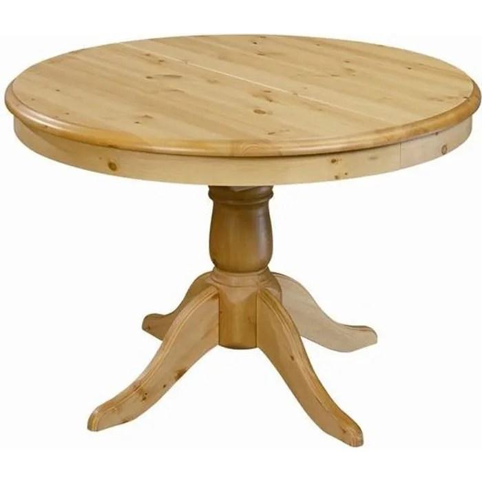 table ronde en pin 110 cm avec rallonge 40 cm