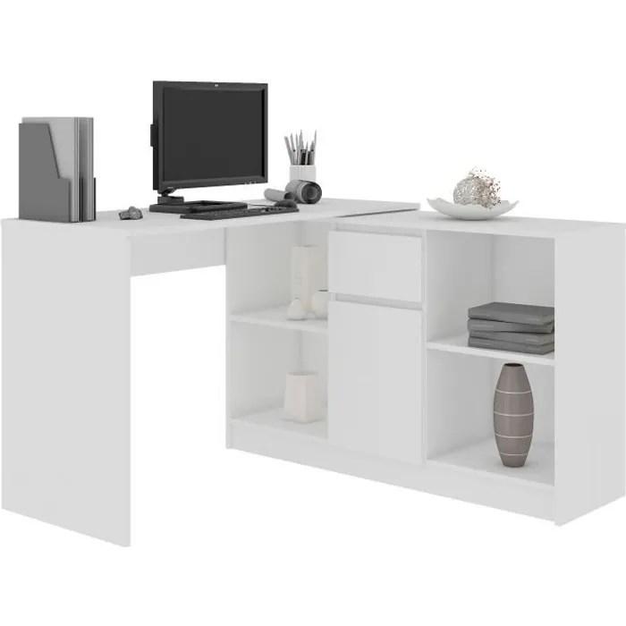 kereste bureau informatique d angle modulable commode 120x126x79 77 cm table ordinateur contemporaine multi rangements blanc