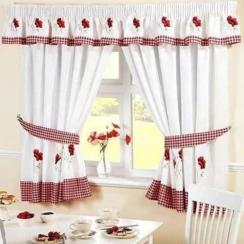rideaux cuisine rouge et blanc
