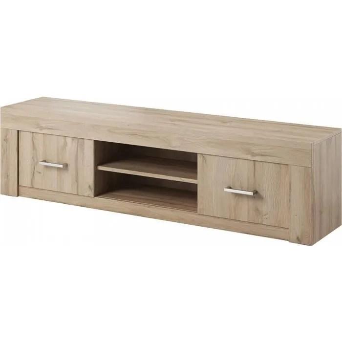 meuble tv chene clair 2 portes 2 niches 45 chene c