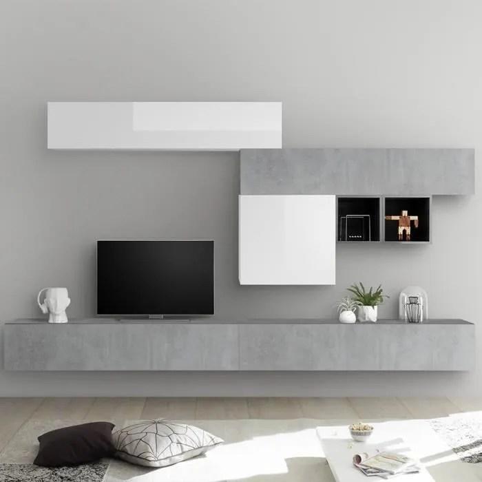 ensemble meuble tv blanc laque et gris beton galat