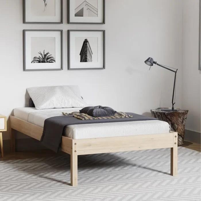 modernluxe lit adulte avec sommier a lattes en bois massif style classique 100 x 200 cm