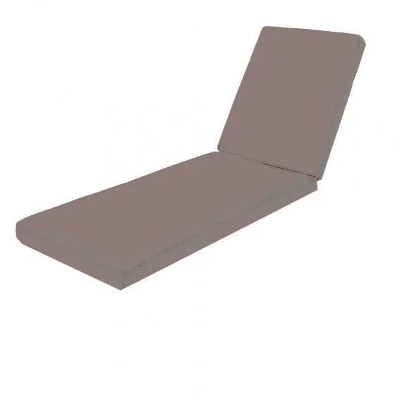 luxe coussin impermeable outdoor pour bain de soleil largeur 80 cm x 200 epaisseur 12 cm taupe taupe