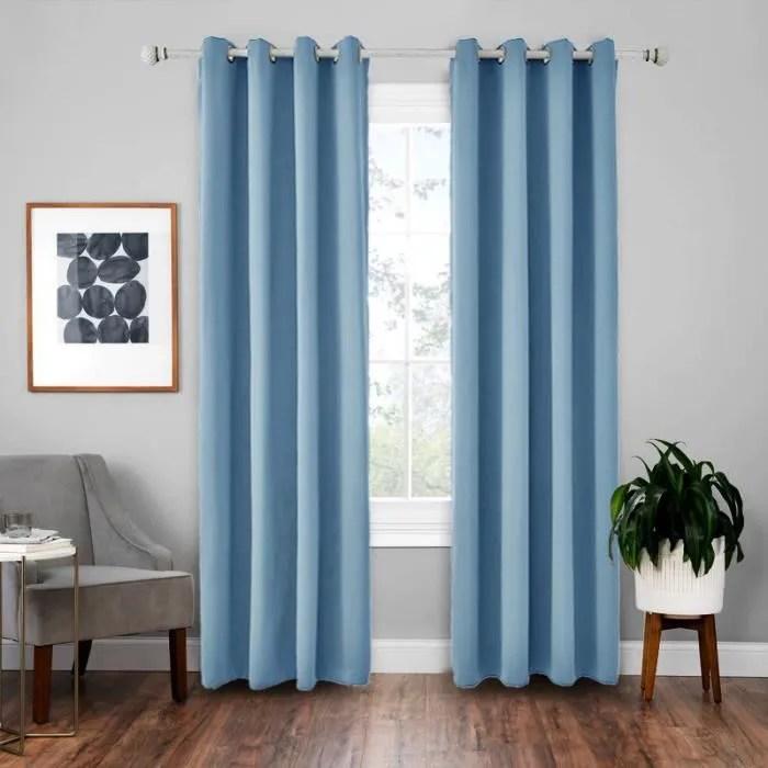 doubles rideaux occultants isolant thermique bleu