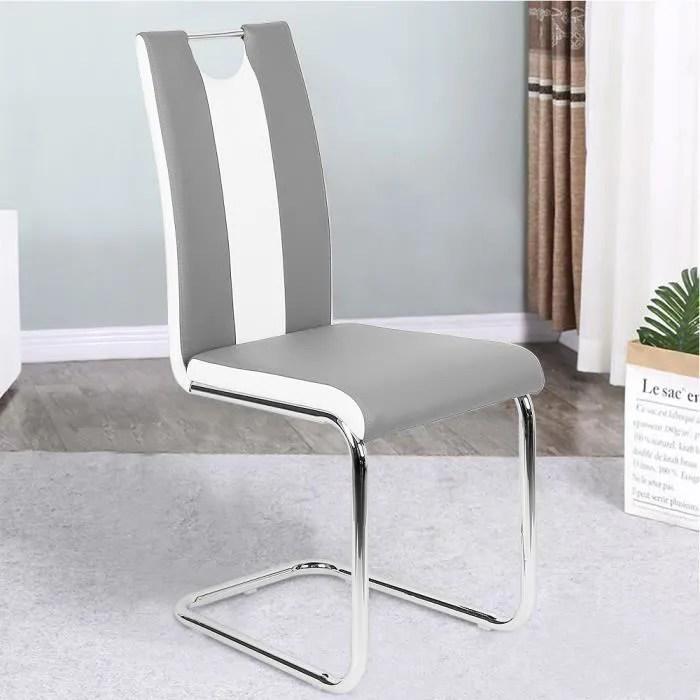 lot de 8 chaises de salle a manger simili gris et blanc dossier incurve style minimaliste moderne