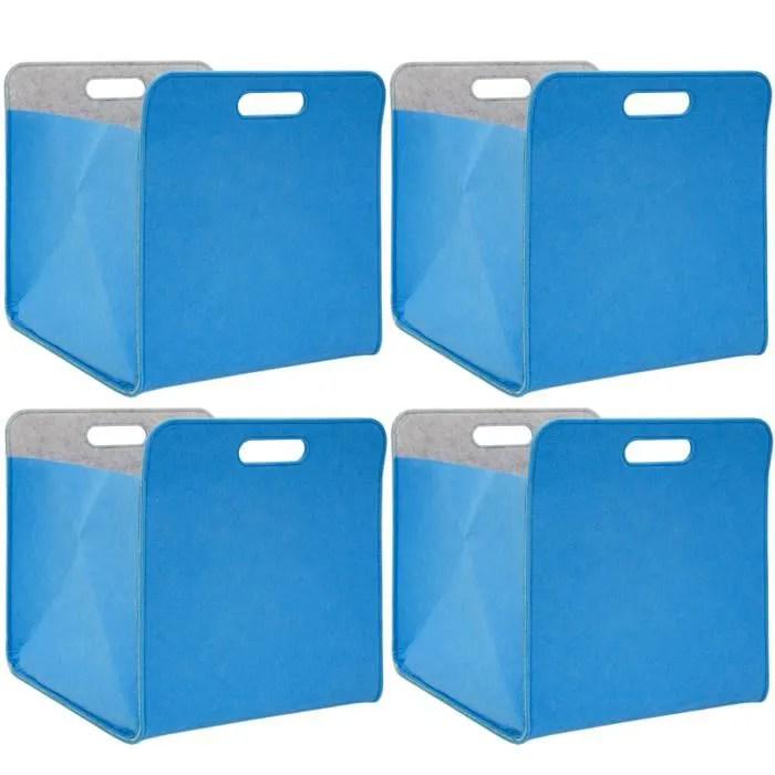 4 boites de rangement feutre 33x33x38cm kallax panier feutrine etagere ikea bleu