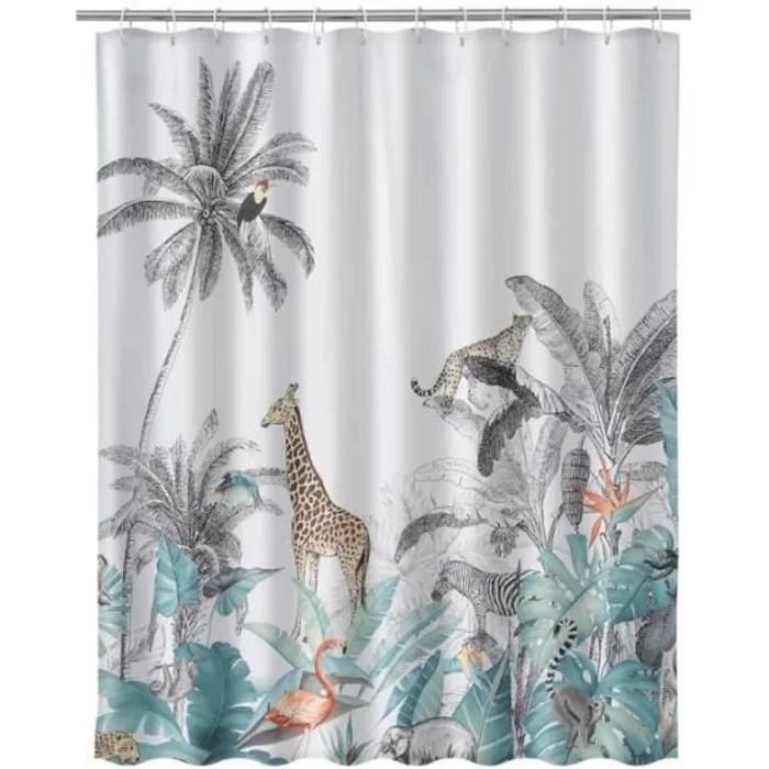 rideau de douche tissu multicolore animaux de la j