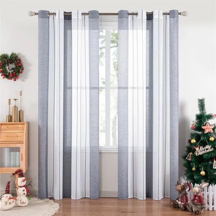 rideaux voilage noel gris 140x220cm 2pcs pour
