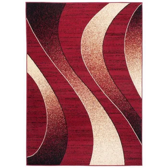 tapiso dream tapis de salon design moderne rouge beige fin 160 x 220 cm