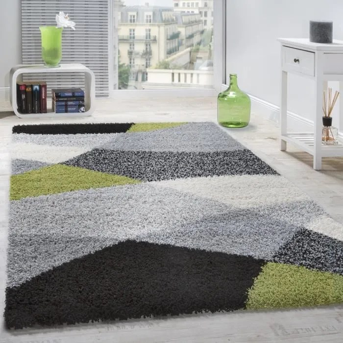 tapis shaggy longues meches hautes motifs gris noi