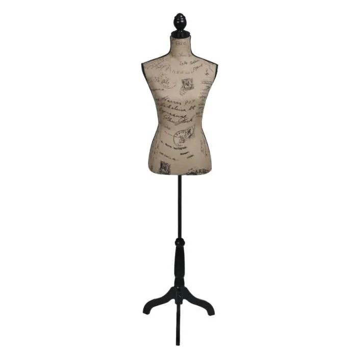buste de couture mannequin de couture de vitrine buste decoratif de femme mannequin de femme marron et noir jute