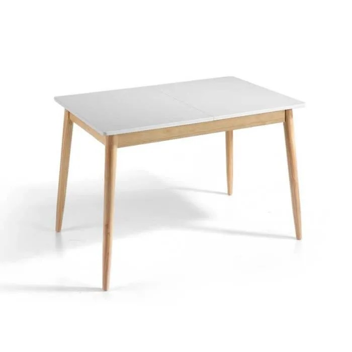 table de repas a allonge blanc chene kaikoura n 1 l 120 160 x l 80 x h 76