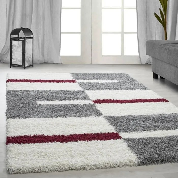 tapis shaggy shaggy gris raye vert rouge tapis bei