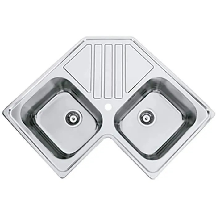 evier de cuisine d angle a deux cuves avec egouttoir modele kepler bb par rodi 83x83cm