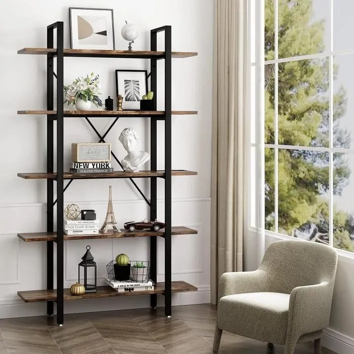 meuble etagere a 5 niveaux bibliotheque style indu